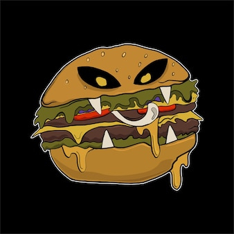 Tshirt에 대한 할로윈 그림 햄버거