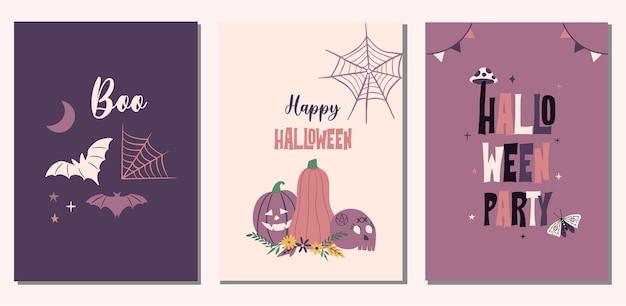 Набор карточек иллюстрации хэллоуина. тыква, летучие мыши, элементы паутины.
