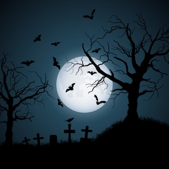 Halloween illustration of cemetery at night