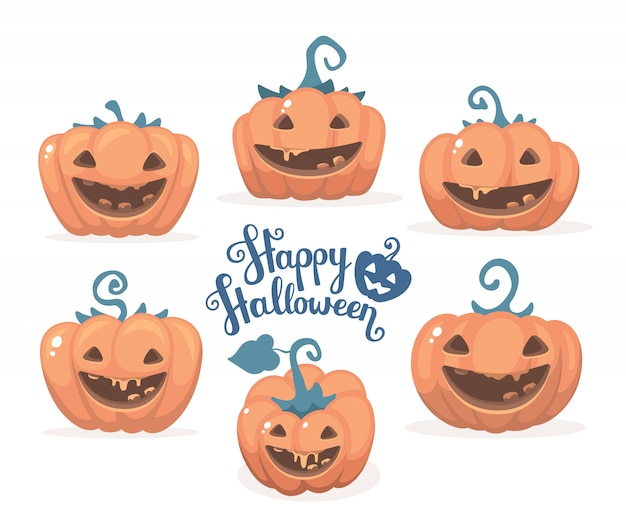 Halloween illustration of collection of decorative orange pumpkins with smiles