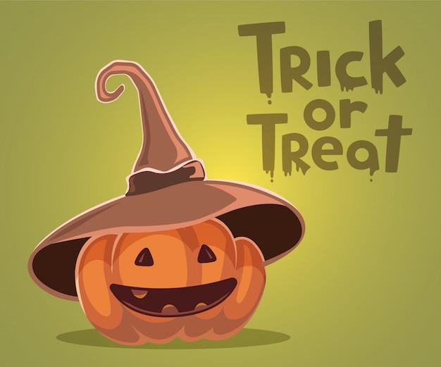 Halloween illustration of decorative orange pumpkin in witch hat
