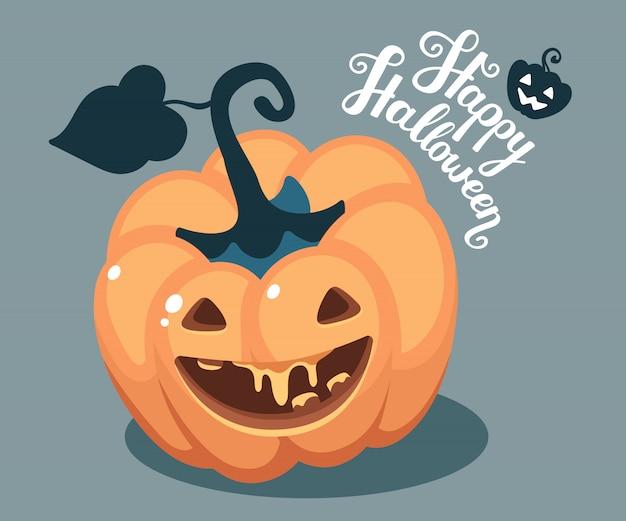 Halloween illustration of decorative orange pumpkin with smile