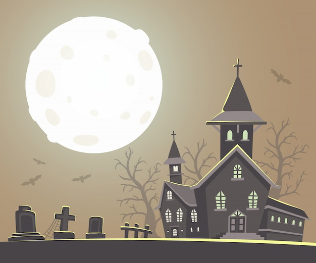 Halloween illustration of haunted house and full moon