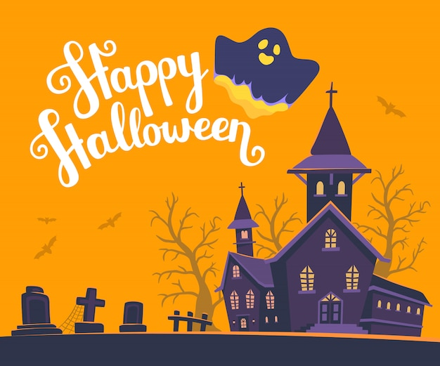 Halloween illustration of haunted house and ghost