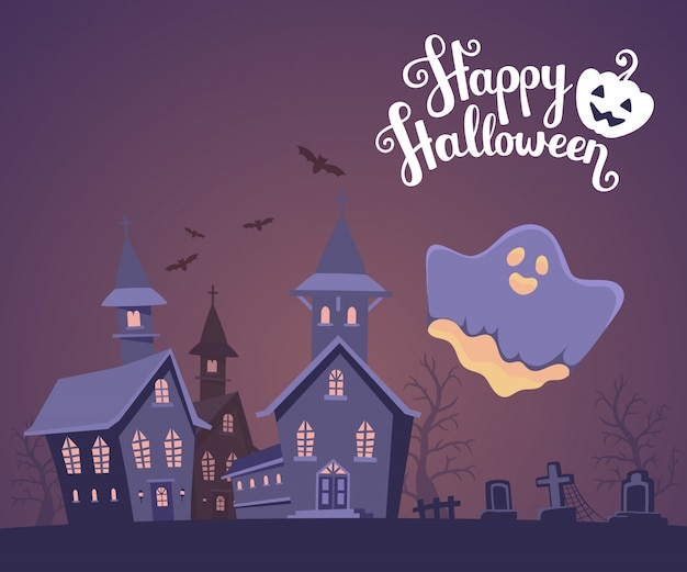 Halloween illustration of haunted house with ghost