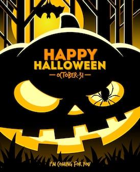 Halloween illustration jack o lantern smiling pumpkin in the night forest
