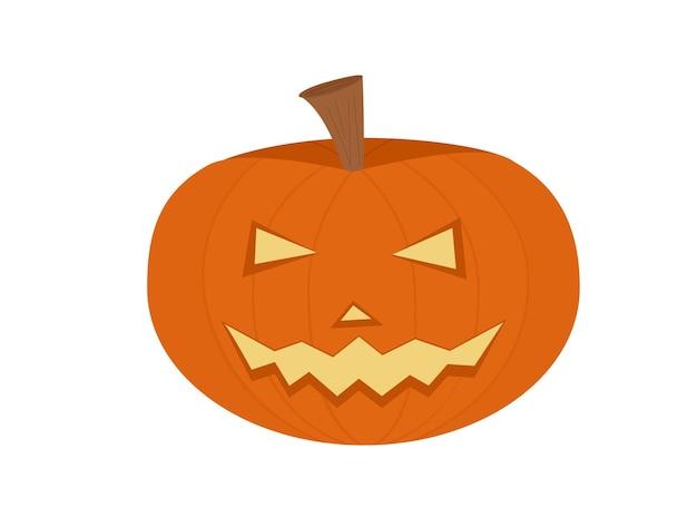 Halloween illustration of orange pumpkin with carved eyes and sharp teeth