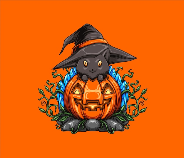 Halloween illustration pumpkin and cat wearing witch hat