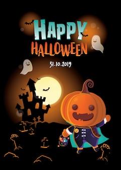 Иллюстрация хеллоуина. тыква с корзиной фокуса или обслуживания на темной сцене замка. хэллоуин пригласительный билет.