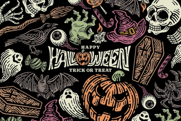 Halloween illustration set collection for celebration template and decoration