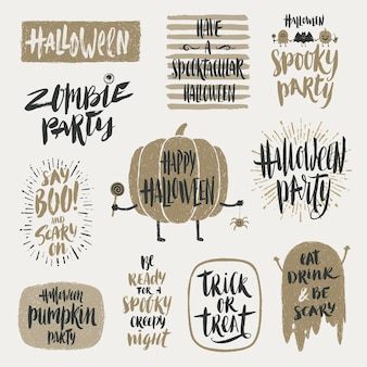 Halloween illustration. set of hand drawn brush calligraphy for halloween greeting, invitation or poster.
