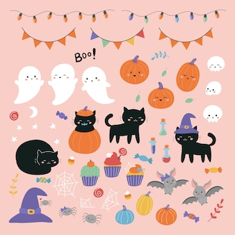 Halloween illustration set with cartoon characters for kids.