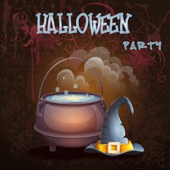 Хэллоуин иллюстрация с котелком и кепкой