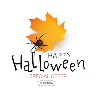 Halloween illustration with autumn leaf. sale banner. happy halloween