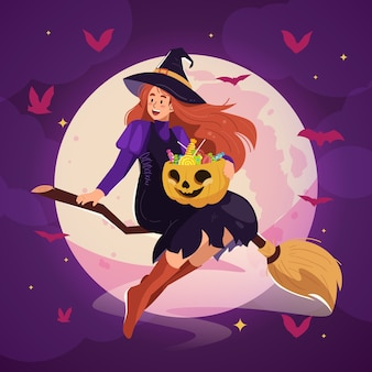 美しい魔女が飛んでいるハロウィーンのイラスト