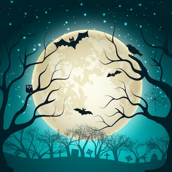 Halloween illustration with big glowing moon ball on night sparkle sky and bats in magic forest flat