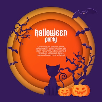 Halloween illustration with black cat on moon background.
