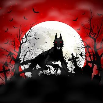 墓地に黒いオオカミとハロウィーンのイラスト