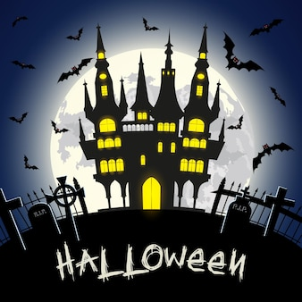 Halloween illustration with castle, tomb and bats on full moon background. vector illustration