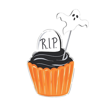 Halloween illustration with cupcake orange icing and tombstone isolated on white background