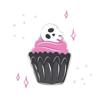 흰색 바탕에 컵케이크 핑크 장식과 스컬이 있는 할로윈 그림