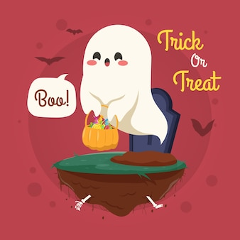 Halloween illustration with cute ghost flying over graveyard
