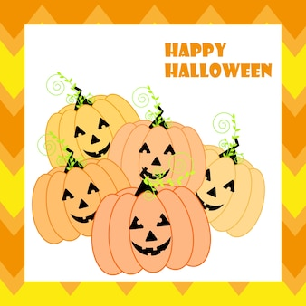 Halloween illustration with cute jack o lanterns on orange zigzag background suitable for halloween card