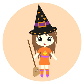 Halloween illustration with cute witches suitable for halloween card