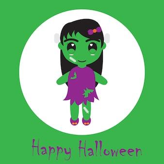 Хэллоуин иллюстрация с милой зомби девушка подходит для хэллоуин открытки, обои и открытки