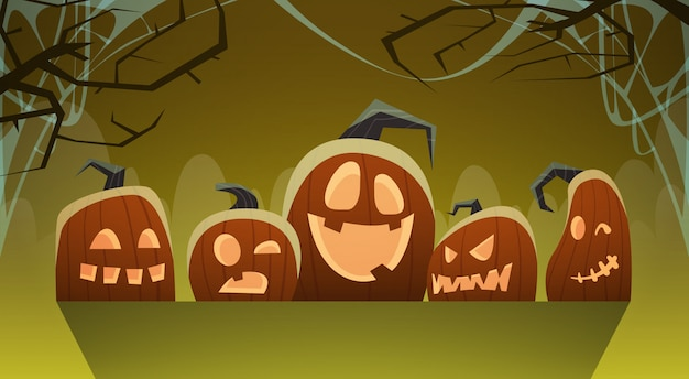 Halloween illustration with different pumpkins traditional decoration