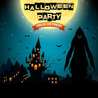 Хэллоуин иллюстрация с мрачным жнецом и домом с привидениями