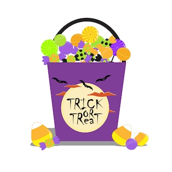 Halloween illustration with halloween candies bucket suitable for halloween card