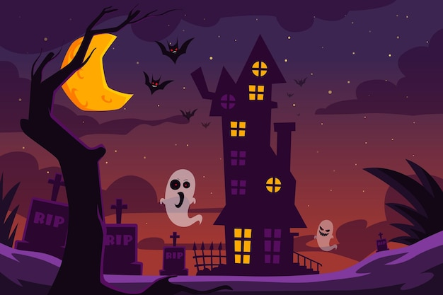 Halloween illustration with haunted house