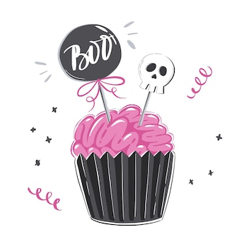 Halloween illustration with pink icing cupcake in shape of brain and isolated on white background