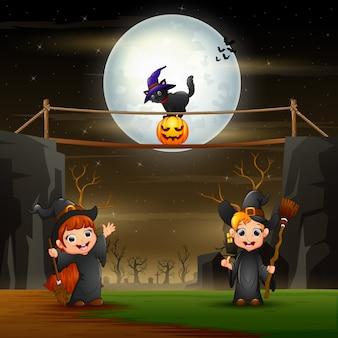 Хэллоуин иллюстрация с ведьмами в ночи Premium векторы