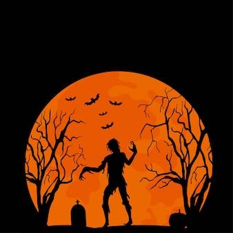 좀비, 묘지, 나무가 있는 할로윈 삽화. 해피 할로윈