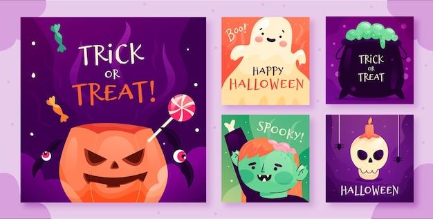 Halloween instagram post collection Free Vector