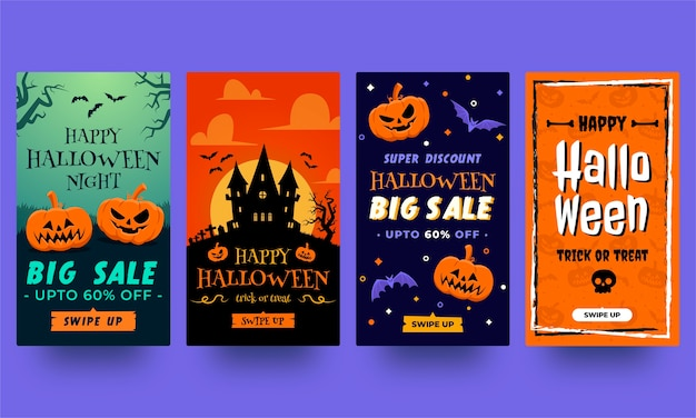 Halloween instagram stories collection. templates in flat design ready to use