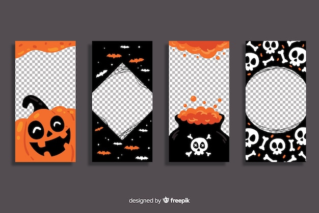 Halloween instagram stories collection with transparent background