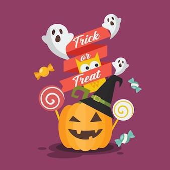 Halloween invitation greeting card. halloween pumpkin owl and ghost.