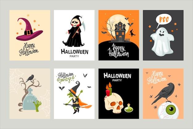Halloween invitation or greeting card set. cartoon style. vector illustration.