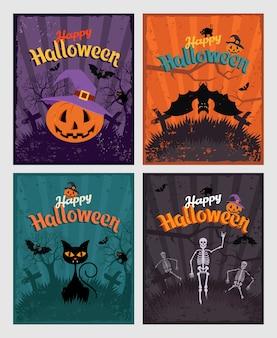 Halloween invitation or greeting cards set