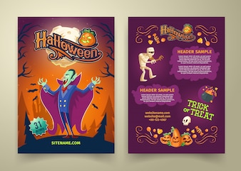 Halloween invitation on list. Brochure template with headers. Background with count Dracula