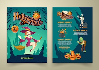 Halloween invitation on list. Brochure template with headers.
