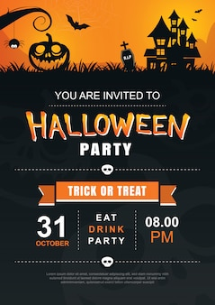 Halloween invitation party poster template.