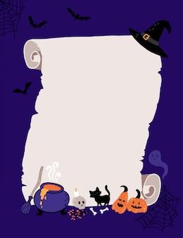 Шаблон приглашения на хэллоуин для ведьмы детский костюм партии.