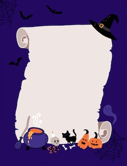 Halloween invitation template for witch kids costume party.