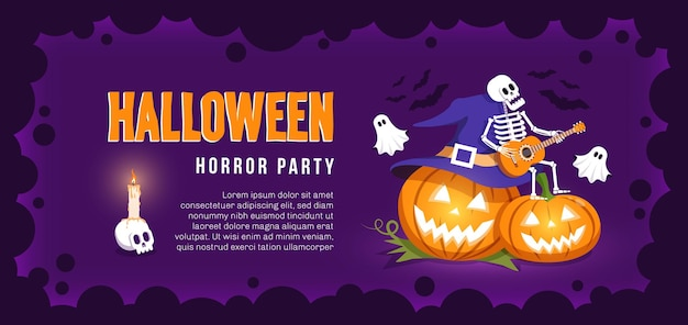 Halloween invitation with funny pumpkins skeleton and ghosts.