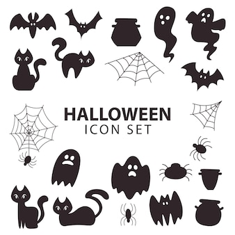 Halloween item icon silhoutte collection for decoration or sticker