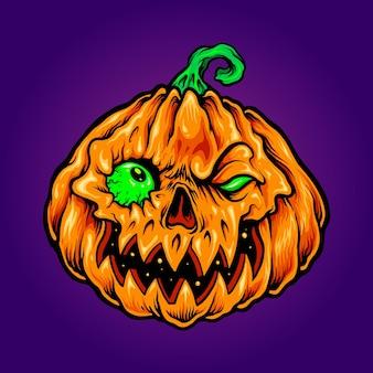 Хэллоуин джек о фонарь резьба зомби тыквы векторные иллюстрации